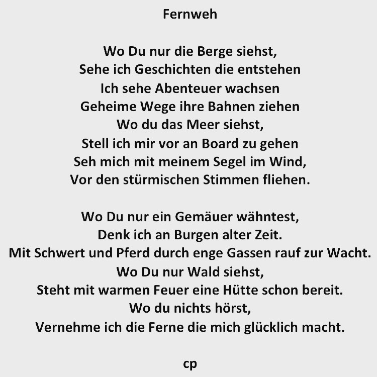Fernweh - Gedicht Carsten Pohl