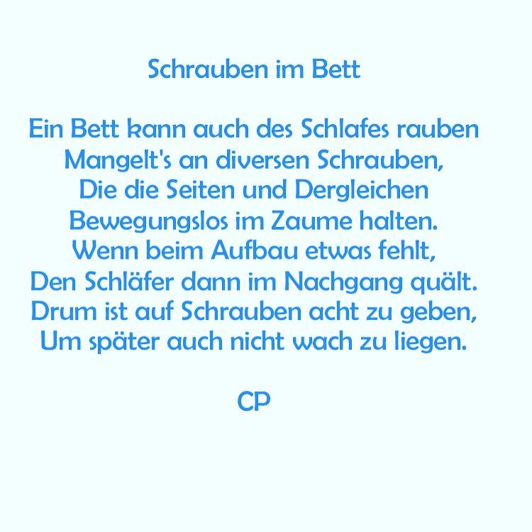 Schrauben im Bett - Kurzgedicht von Carsten Pohl