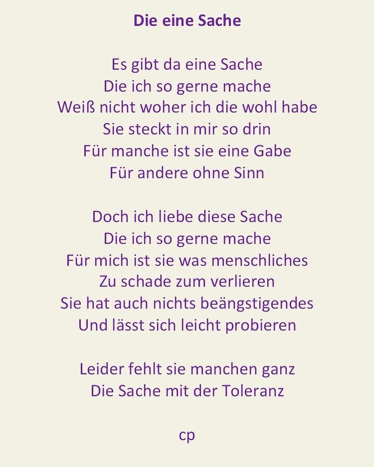 Die eine Sache - Gedicht von Carsten Pohl